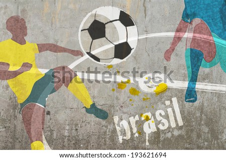 concrete wall with soccer players  graffiti - stock photo