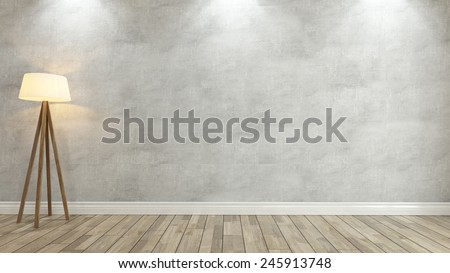 concrete wall with under 3 spot light 3D rendering