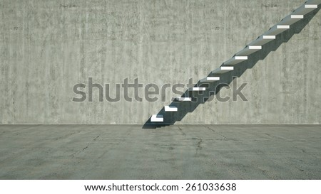 Concrete wall  with white stairs, 3d render