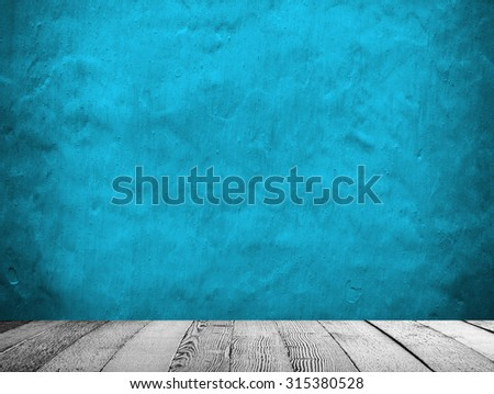 concrete wall with white wood plank - stock photo