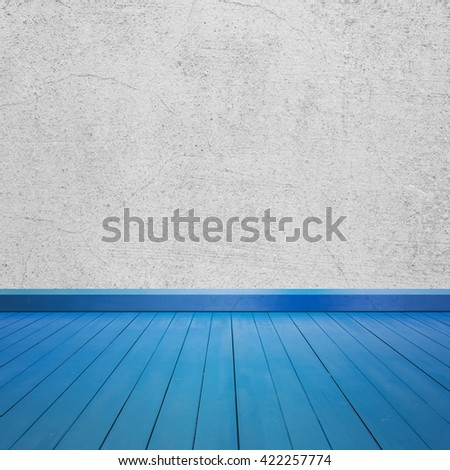 Concrete walls and Color wood floor for text and background.Copy Space - stock photo
