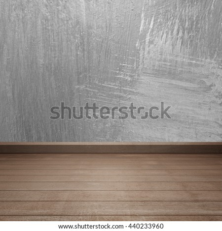 Concrete walls and wood floor for text and background.Copy Space - stock photo