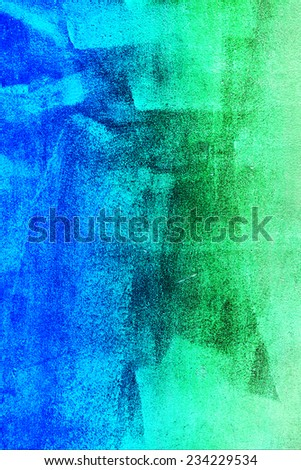 Concrete, weathered, worn, painted blue and green. Grungy Concrete Surface. Great background or texture. - stock photo