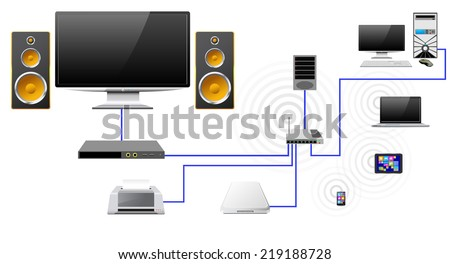 Concrpt home network with the server data store as stylized icons (raster version). - stock photo