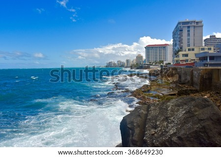 CONDADO, PUERTO RICO, JANUARY 25, 2016: A Condado beach front location. Condado is a town on the north coast of Puerto Rico.