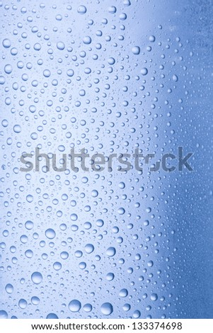 condensation and drops on a glass with touches of color