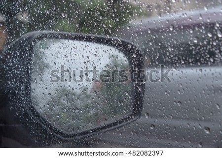 Condensation mirror image is soft. Blur outside the car side mirrors.