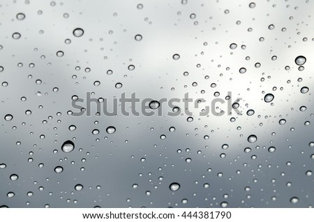 Condensation on glass, condensation on window, waterdrop on glass after rain - stock photo