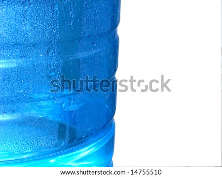 condensation on water cooler bottle-White copy space - stock photo