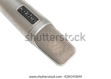 Condenser, dynamic  mic in Studio recording on a white background and Clipping path  - stock photo