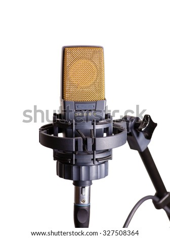 Condenser microphone isolated on white - stock photo