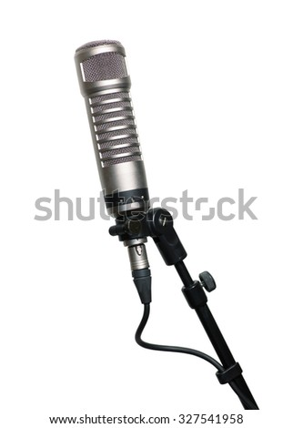 Condenser microphone isolated on white background - stock photo