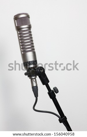Condenser microphone on white background