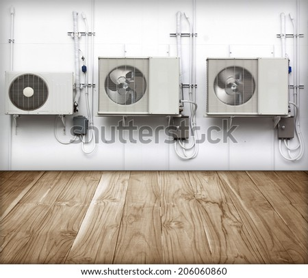 condenser Refrigeration and Air Conditioning exterior wall. - stock photo