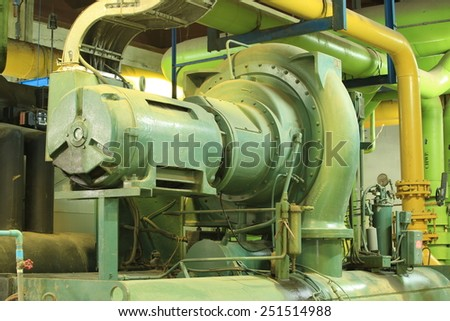 Condenser water pump , chiller water pump, Condenser water pump in the basement , chiller water pump in the basement  - stock photo