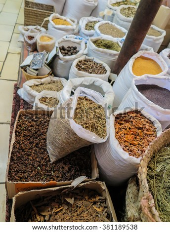 condiments, spices, herbs in bags and boxes put up for sale as a backdrop, Nazareth - stock photo