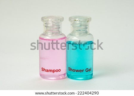 conditioner shampoo and shower gel - stock photo