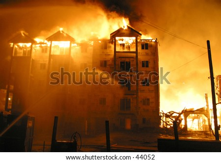 condo fire - stock photo