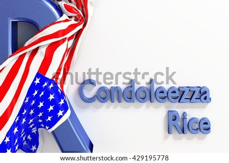 """Condoleezza """"Condi"""" Rice is an American political scientist and diplomat. She served as the 66th United States Secretary of State. 3d Rendering. WASHINGTON, DC - MAY 28, 2016  - stock photo"""