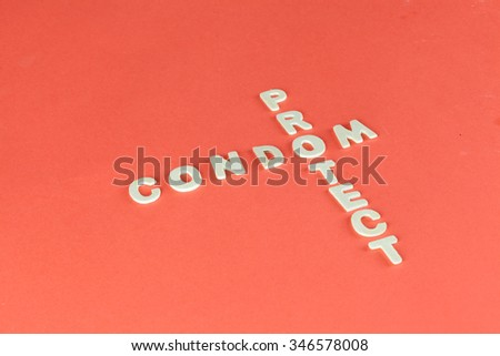 Condom and Protect Puzzle on Red Blood Background - stock photo