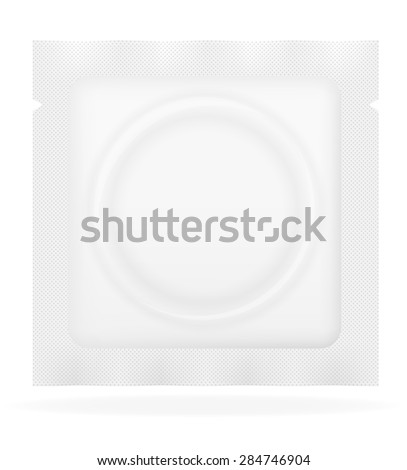 condom in white package illustration isolated on background