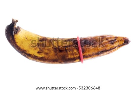 Condom with Rotten banana; Sexual Dysfunction isolated on white background