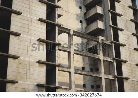 Condominium building with blue sky. - stock photo