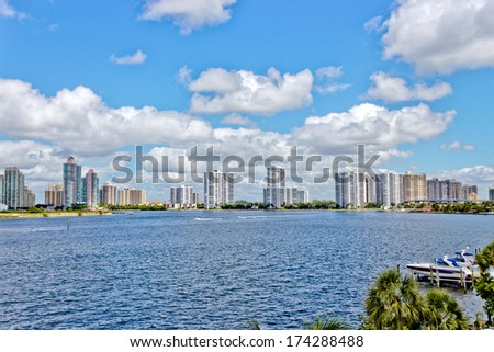 Condominium buildings in Miami, Florida. - stock photo
