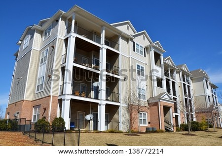 Condominium Garden Style Complex - stock photo