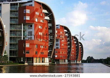 Condominium skyscraper. Abstract modern architecture in the Netherlands. - stock photo