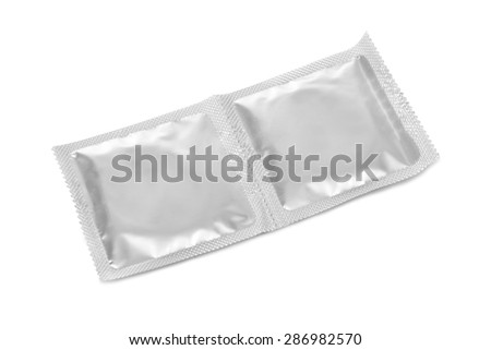 Condoms - isolated on white background - stock photo