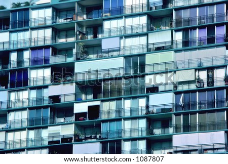 Condos in Early Evening - stock photo