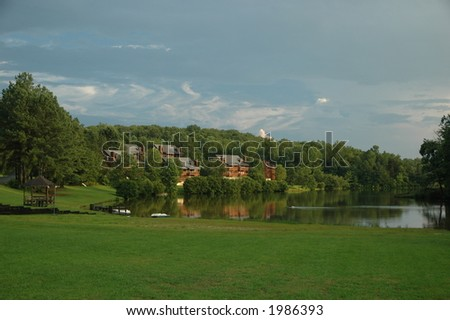 Condos on the lake - stock photo