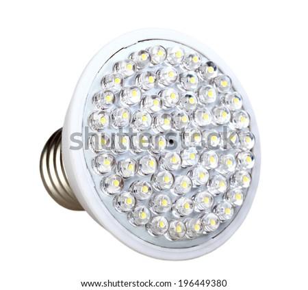 Cone energy-saving LED lamp isolated on white background. Studio photography. - stock photo