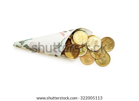 Cone of coiled ruble bills with coins on a white background.