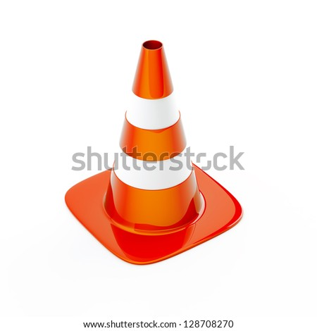 Cone pin of the red-white color used in construction on road - stock photo