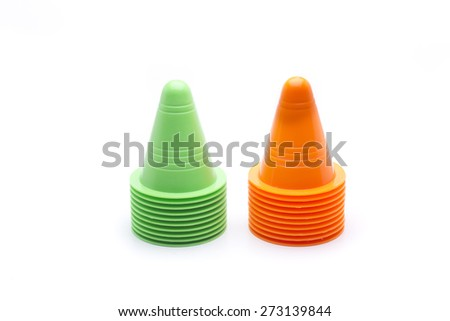 cone slalom skating, or to learn - stock photo