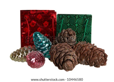 cones and bags isolated on white background - stock photo