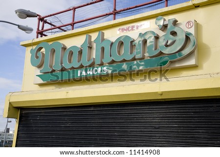 Coney Island, New York:  World famous Nathan's Hotdogs.  A Brooklyn landmark.  Empty during the winter.
