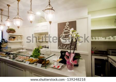 confectioner's shop elegant interiors - stock photo