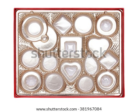 Confectionery box with partitions on white background - stock photo