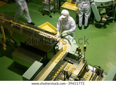 Confectionery factory on production cookie - stock photo