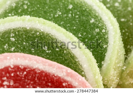 Confectionery product, colorful jelly candies shown up close - stock photo