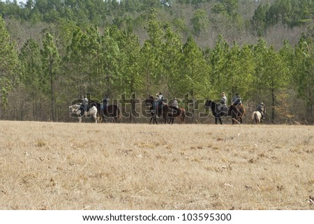 Confederate Cavalry prepare to charge. - stock photo