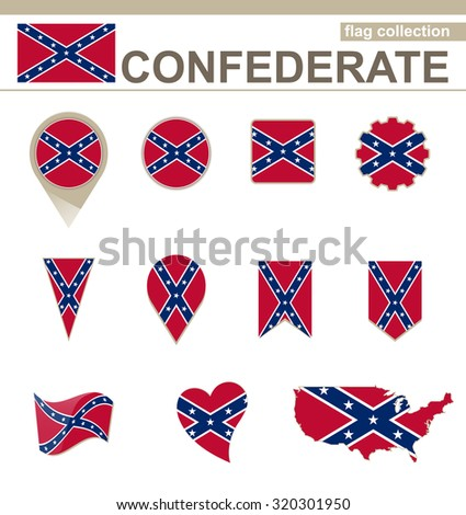 Confederate Flag Collection, 12 versions, Rasterized Copy - stock photo