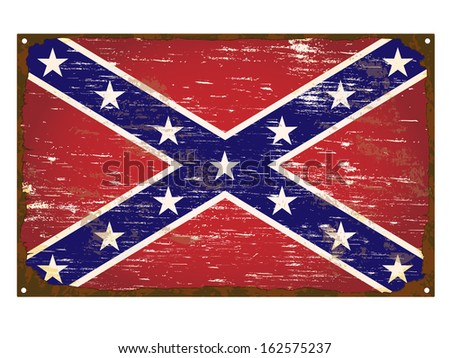 Confederate flag on rusty old enamel sign
