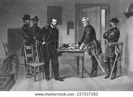 Confederate General Robert E, Lee surrenders to Union General Ulysses S, Grant at Appomattox Court House, Virginia, April 9, 1865, from The New York Times.