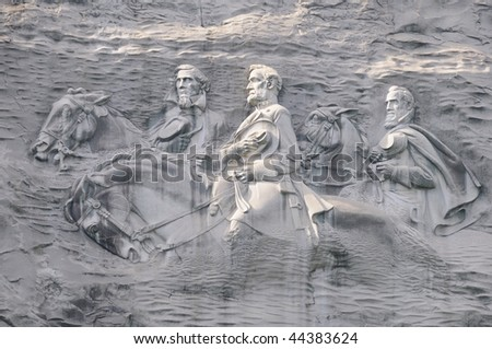 Confederate Leaders of Civil War Carved in Stone Mountain near Atlanta - stock photo