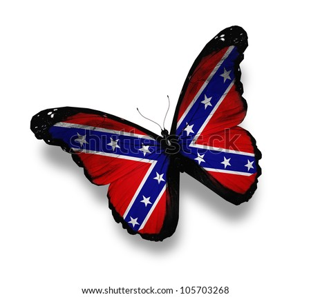 Confederate Rebel flag butterfly, isolated on white - stock photo