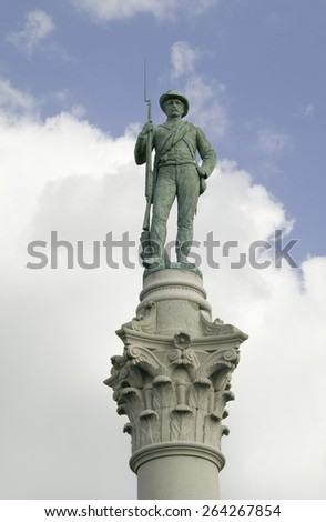 Confederate Solider statue at park that overlooks James River in Richmond Virginia - stock photo